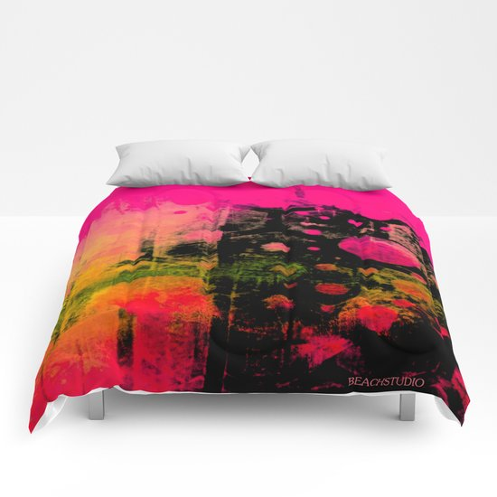 In a Pink and Black Mood Comforters