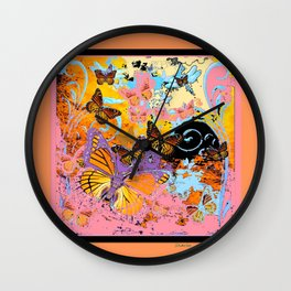 Peach Colored Monarch  Butterflies Carnival Fantasy Art Wall Clock