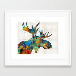 Colorful Moose Art - Confetti - By Sharon Cummings Framed Art Print