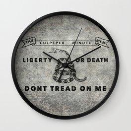 Culpeper Minutemen flag, Worn distressed textues Wall Clock