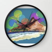 brazil Wall Clocks featuring Leblon, Brazil by terezamc.
