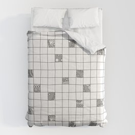 Abstract background with black and white crossword grid Comforters