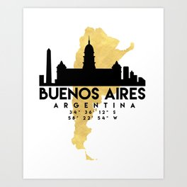 BUENOS AIRES ARGENTINA SILHOUETTE SKYLINE MAP ART Art Print