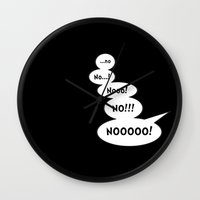 comic book Wall Clocks featuring Comic book NO by Emma Harckham
