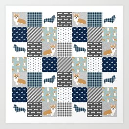 Corgi Patchwork Print - navy, dog, buffalo plaid, plaid, mens corgi dog Art Print