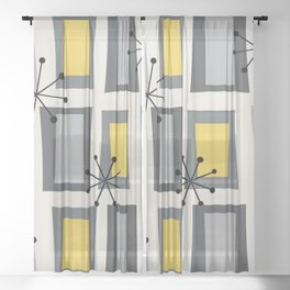 Mid Century Modern Art 'Wonky Doors' Yellow Gray Sheer Curtain