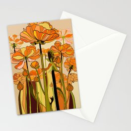 70s, Orange California poppies, mid century, 70s retro, flowers Stationery Cards