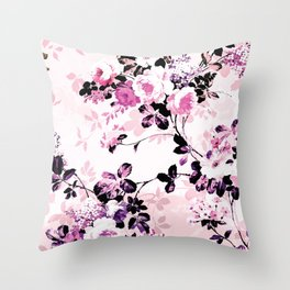 Modern blush pink black watercolor country floral Throw Pillow