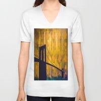 brooklyn bridge V-neck T-shirts featuring Brooklyn Bridge by KINGCHANCE