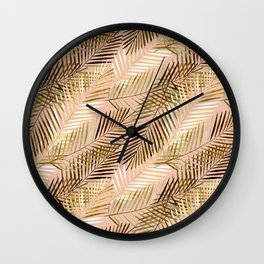 Golden palm leaves. Wall Clock