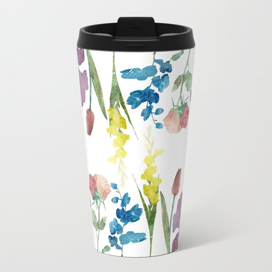 Color Flowers Metal Travel Mug