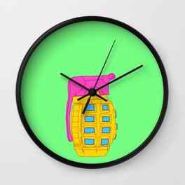 Yellow and Pink Toy Hand Grenade Wall Clock