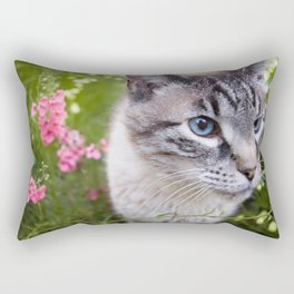 kitty in secret garden Rectangular Pillow