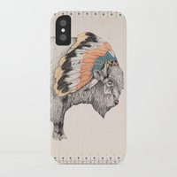 devil iPhone & iPod Cases featuring White Bison by Sandra Dieckmann