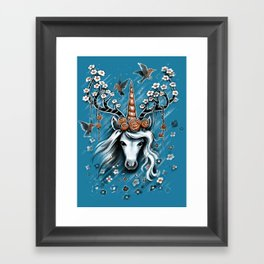 Deer Unicorn Flowers Framed Art Print