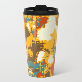 psychedelic geometric painting texture abstract in yellow brown red blue Travel Mug