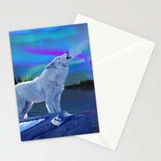 Arctic Prayer - White Wolf and Aurora Stationery Cards