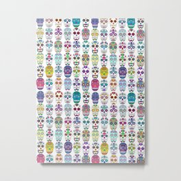 Sugar Skulls All Over Pattern Metal Print