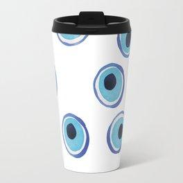 Evil Eye Watercolor Pattern (Mati) Travel Mug