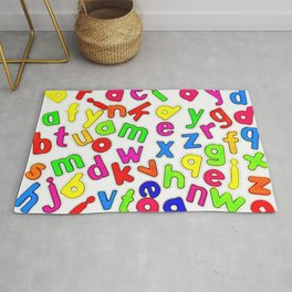 Jumbled up Multi Coloured Letters Rug