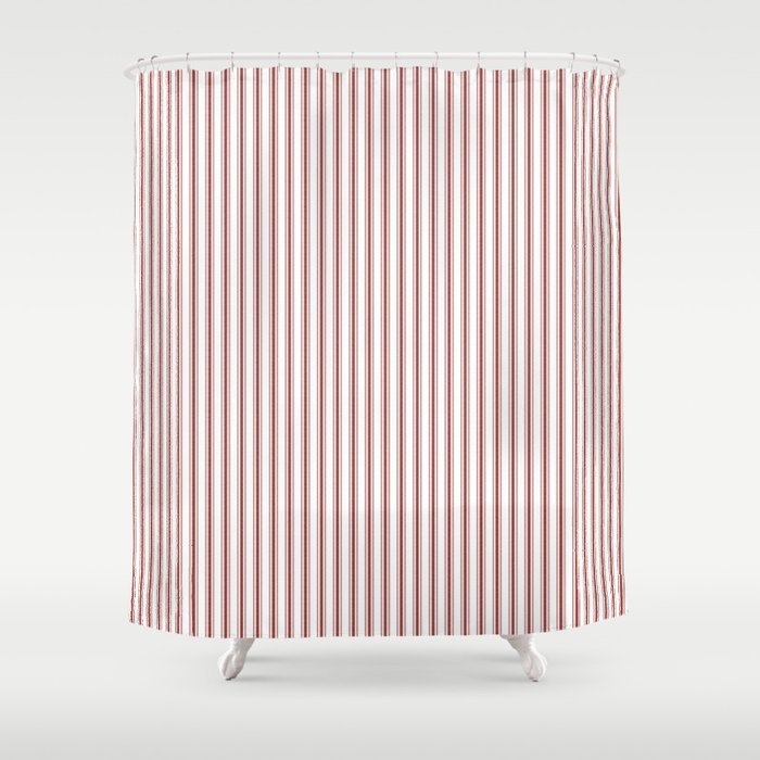 Vintage New England Shaker Barn Red Milk Paint Mattress Ticking Vertical Narrow Striped Shower Curtain By Podartist