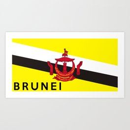 brunei country flag name text Art Print