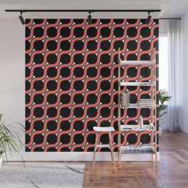 Between Circles in living coral, black and white Wall Mural