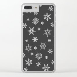 Snow Flurries-Solid Charcoal Clear iPhone Case
