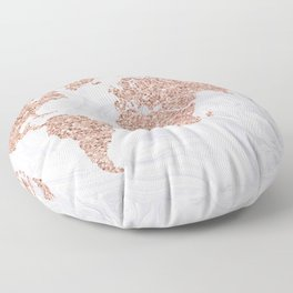 Rose Gold Glitter World Map on White Marble Floor Pillow