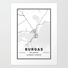 Burgas Light City Map Art Print