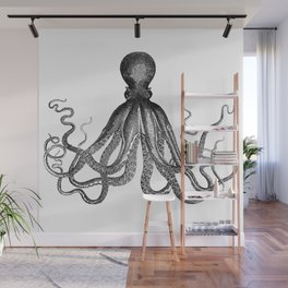 Antique Nautical Steampunk Octopus Vintage Victorian Kraken sea monster emo goth drawing Wall Mural