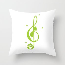 Treble clef and birds Throw Pillow