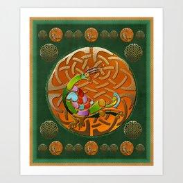 Peacock Celtic Deco Art Print