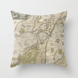 Vintage Map of Stockholm Sweden (1720) Throw Pillow
