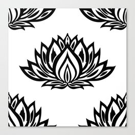 Black and White Lotus Pattern Canvas Print
