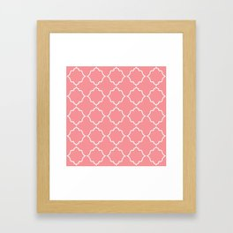 Moroccan White and Coral Framed Art Print