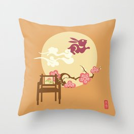 Rabbit and Full Moon Throw Pillow