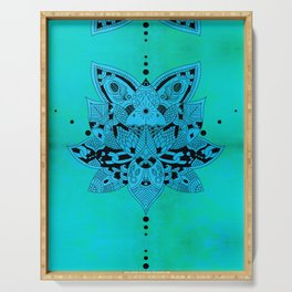 Aqua Mandala Metallic Mint Blue Serving Tray
