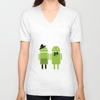 android V-neck T-shirts featuring android couple by Grazemee