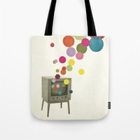 tv Tote Bags featuring Colour Television by Cassia Beck