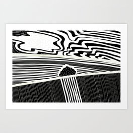 Landscape with Horse Chestnut Tree - White Lines Art Print