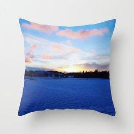 Snowy Sunset Art Photography Throw Pillow