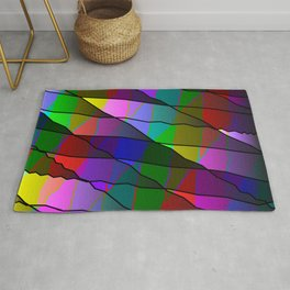 Mirrored colored shards of curved red intersecting ribbons and dark lines. Rug
