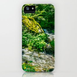 Cascading small creek in the woods iPhone Case
