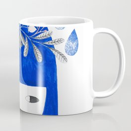 blue girl with raindrops and floral watercolor Coffee Mug