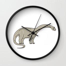 Brontosaurus Dinosaur Looking Down Mono Line Wall Clock