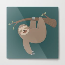 Cute Happy Sloth Metal Print