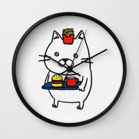 hamburger Wall Clocks featuring Hamburger  kitty by Kaori Sakata