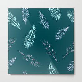 Pencil Feathers Pattern on Midnight Green Metal Print