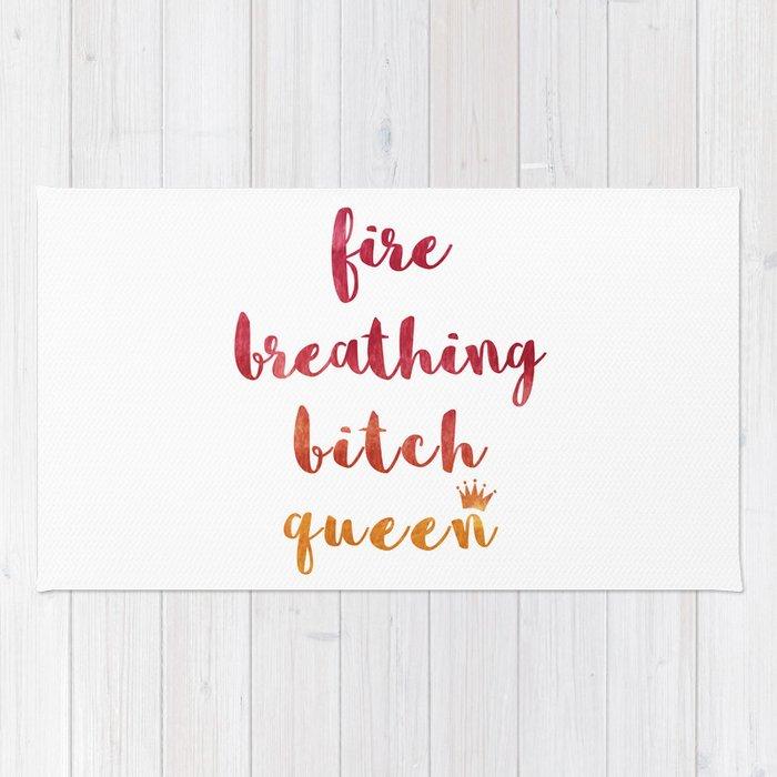 Fire Breathing Bitch Queen Rug